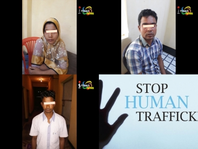 Moreh Police arrests two human traffickers and rescues a girl victim from Myanmar in Moreh yesterday