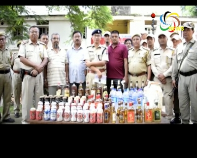 Local liquor and beer bottles from Moreh market were seized