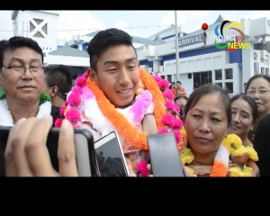 Indian Team star goalkeeper at the FIFA U-17 World Cup Dheeraj Moirangthem returned home