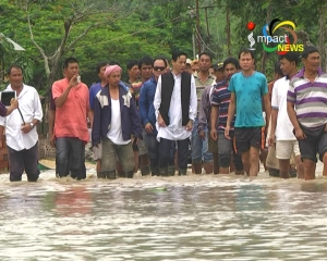 At least 2000 houses and paddy fields have been submerged under flood waters in Khundrakpam