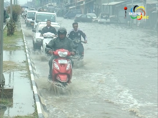 Many areas in Imphal experience first flood of the year after a heavy shower