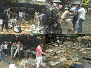 Volunteers of JCILPS students' wing vandalise fruit stalls in Thangal Bazar