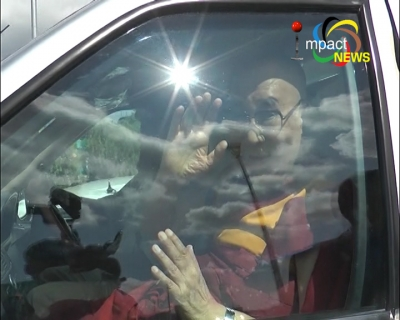 Tibetan Spiritual leader, the Dalai Lama arrives in Imphal, he will address International Peace Conference