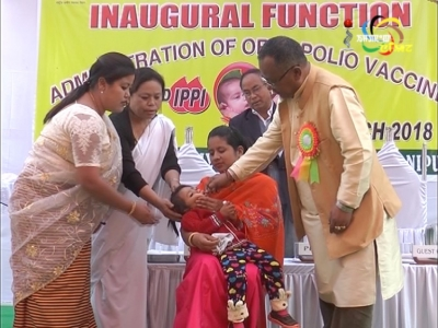 Health minister, L. Jayantakumar launches second round of the 3-day Intensified Pulse polio Immunisation programme by administering polio drops to  children