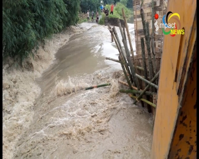 Several areas submerged as Kongba river breaches at Kongba Erong and Ucheckon Lai Moriba