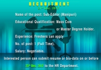 Recruitment for Sub - Editor