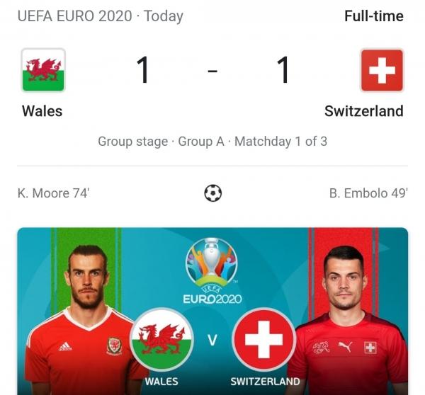 EURO 2020: WALES, SWITZERLAND 1-1 DRAW