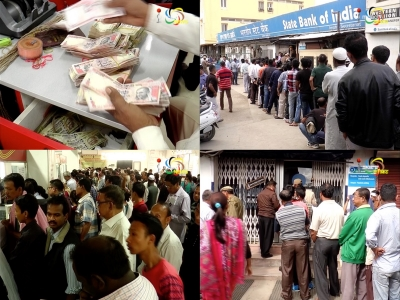 Banks overcrowded as people came in large numbers to deposit old and exchange new currency notes