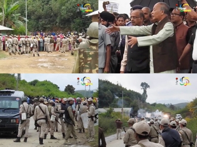 At least 20 persons including policeman injured in violent protest as union minister and chief minister visit site for sports university at Yaithibi Loukon