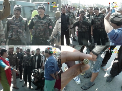 Escorts of Phungzathang Tonsing fire at bandh supporters near Tiddim ground, people force them to apologise